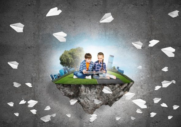 Boy and girl sitting reading on an island with paper airplanes in the background
